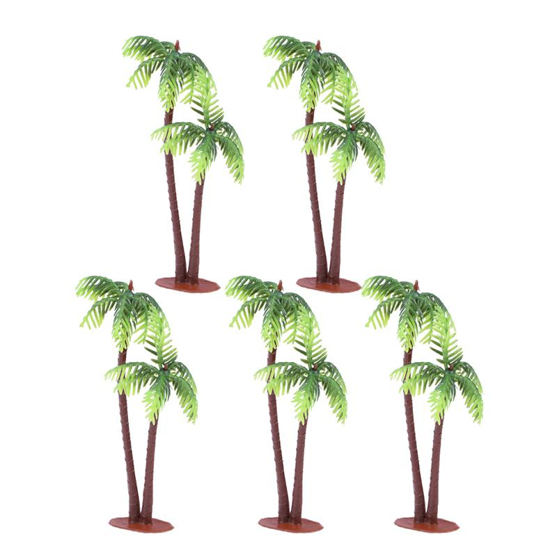 5Pcs Plastic Coconut Palm Tree Miniature Plant Pots Bonsai Craft Micro Landscape DIY Decor