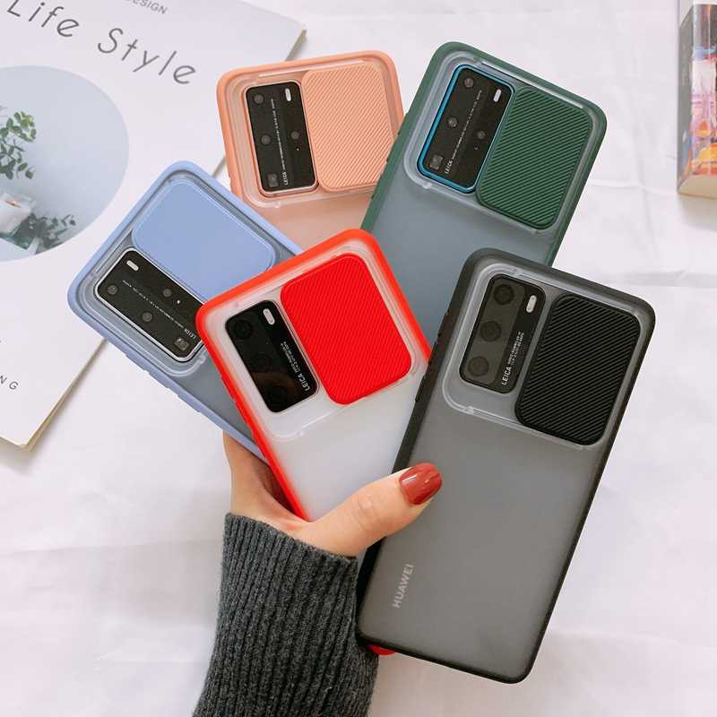 Kamera Pelindung Case untuk Huawei P40 Pro P30 Pro Slider Lensa Cover Mate 30 Pro Transparan Anti-Fall Pelindung shell