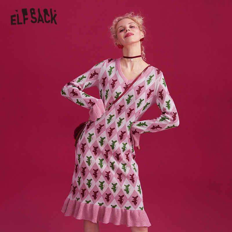ELFSACK Rosa Argyle Flounce manga tejida dulce vestido Casual mujeres 2019 invierno elegante brillante alambre Oficina señoras vestidos diarios