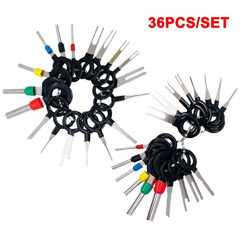 Купить с кэшбэком 1 Set Wire Terminal Removal Tool Car Electrical Wiring Crimp Connector Pin Kit _WK