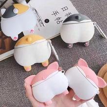 애플 에어팟 3D 귀여운 만화 개 강아지 재미 Shiba Inu 엉덩이 케이스 에어팟 2 섹시한 고양이 돼지 엉덩이 이어폰 헤드셋 커버 가방