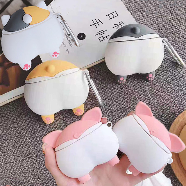 For Apple AirPods 3D Cute Cartoon Dog Puppy Funny Shiba Inu Ass Case for Airpods 2 Sexy Cat Pig Butt Earphone Headset Cover Bag