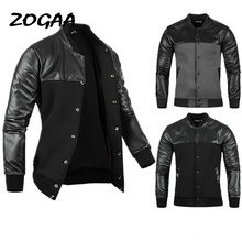 ZOGAA Man Jacket Autumn Mens PU Leather Stitching Black Grey Leisure Jackets Skim Casual Outerwear Mens Jackets and Coats 2019 cheap Single Breasted REGULAR STANDARD NONE COTTON Slim Solid NYLON O-Neck Conventional