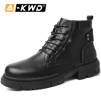 Fashion Autumn Breathable Work Shoes British Luxury Sneakers Men High Top Sneakers Pu Leather Ankle Booots Lace-up Werk Schoenen