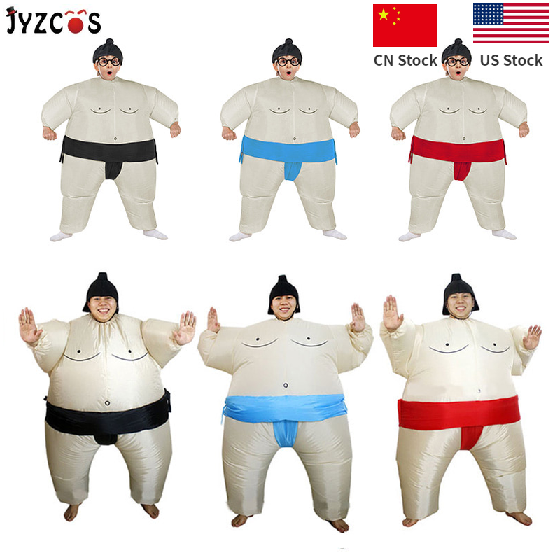 JYZCOS Inflatable Sumo Costume Wrestler Coaplay Halloween Costumes For Boys Girl Men Women Adults Kids Party Carnival Costume