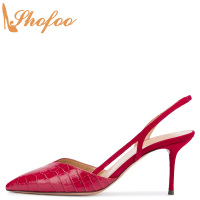 Red Flock Crocodile Embossed Slingbacks Pointed Toe High Thin Heels Sandals Large Size 13 16 Ladies Fashion Mature Shoes Shofoo