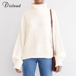 DICLOUD Turtleneck Oversized White Sweater Women Autumn 2019 Long Sleeve Pullover Knitted Jumper Winter Jersey Woman 5