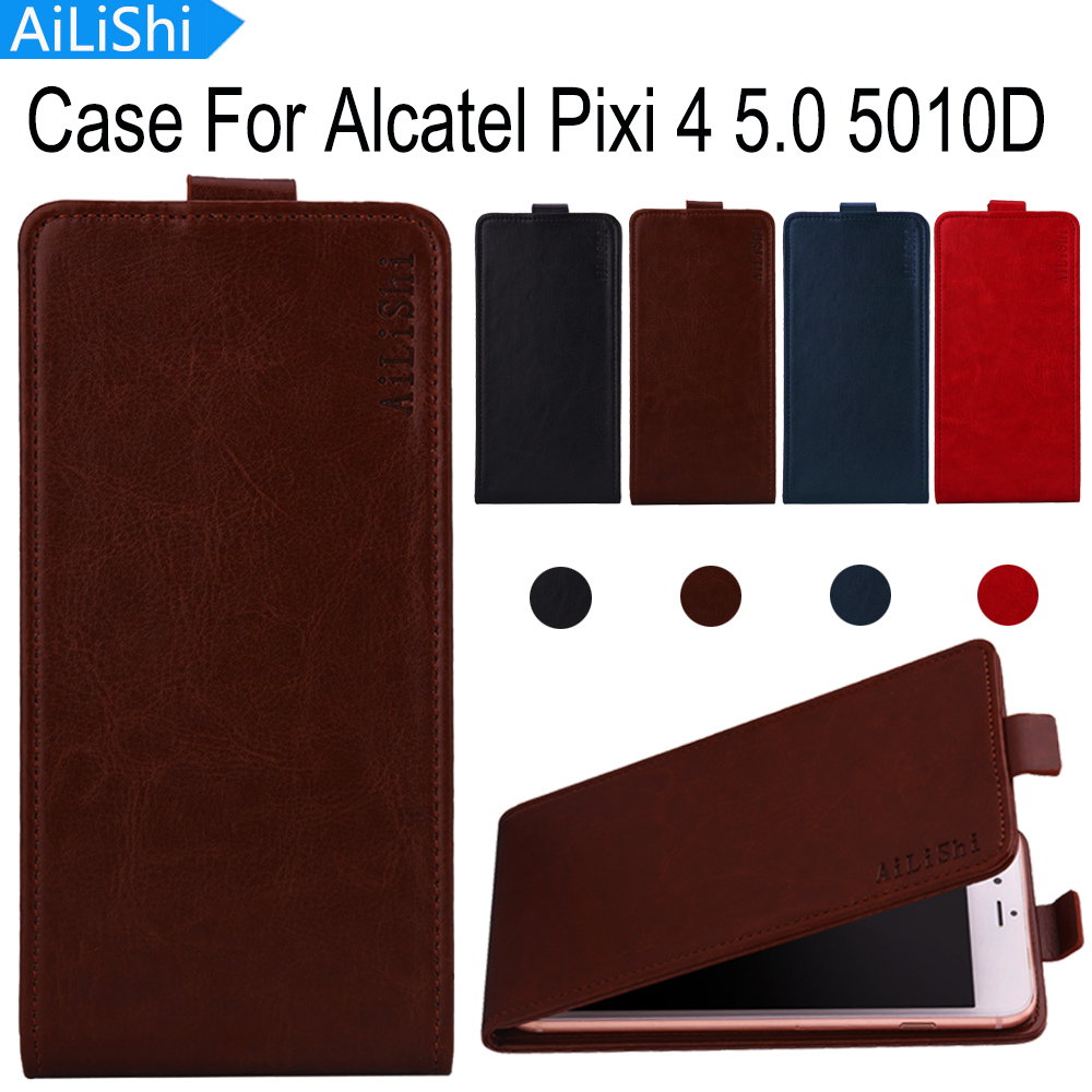 AiLiShi Hot!!! For Alcatel Pixi 4 5.0 5010D Case Top Quality Leather Case Flip Exclusive 100% Special Phone Cover Skin+Tracking image