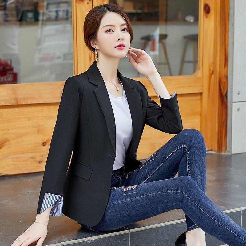Professional lady jacket feminine coat 2020 New Casual High Quality Office Black Blazer Slim stripes Small suit Female