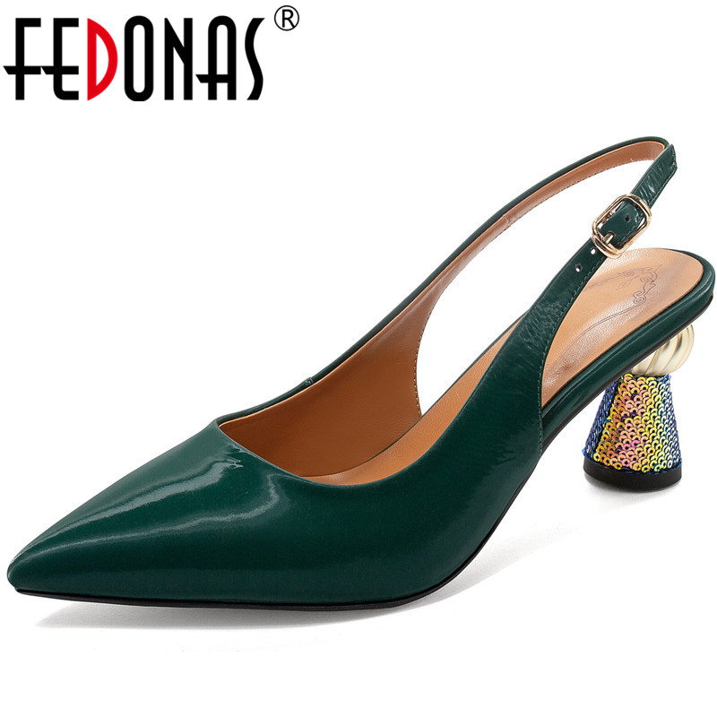 FEDONAS High Quality Spring Summer Women Party Pumps Point Toe Shoes  Genuine Leather Strange Heels Sexy Shoes Woman