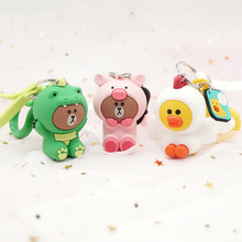 New Cartoon Brown Bear Keychain Cute Dinosaur Frog Pig Girl Doll Keyrings Kids Toy Key Chain Women Ring