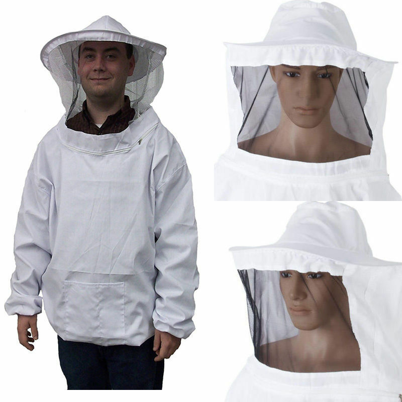 Protective Beekeeping Jacket Veil Smock Equipment Bee Keeping Hat Sleeve Suit White Bee Protective Clothing + Hat
