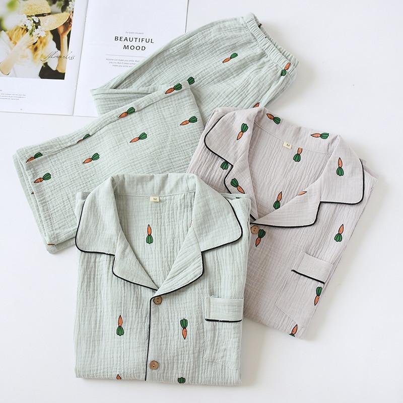 Mens Long-sleeved Trousers Pajama Set 100% Cotton Crepe Long Sleeve Pijama Man Set Radish Printing Pajamas Leisure Sleepwear