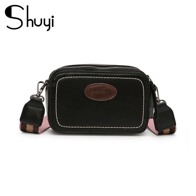 Vintage Wide Strap Women Messenger Bags Designer Luxury Pu Leather Lady Shoulder Crossbody Bag Small Flap Square Purses Female