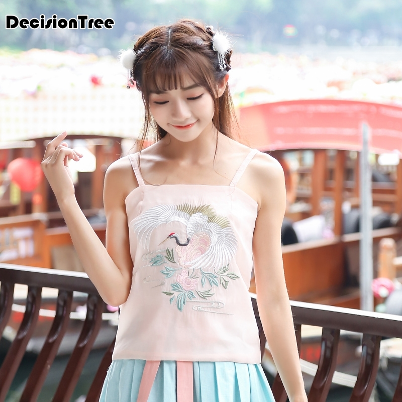 2020 Chinese Top Women Camis Silk Satin Traditional Top Women Camisole Style Sexy Sleeveless Vest White Tops Roupas
