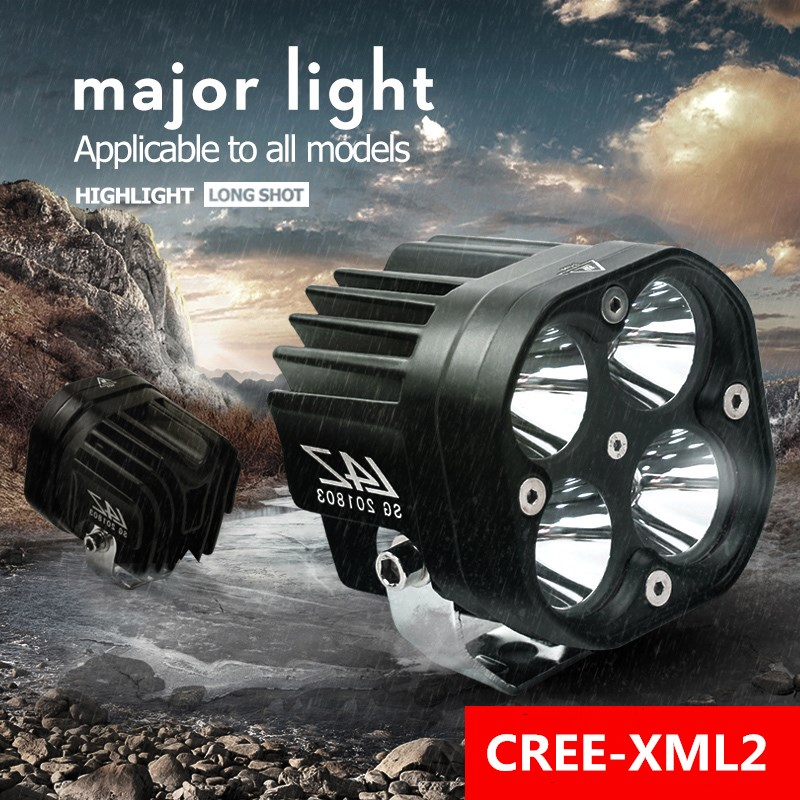 2PCS 60W LED Motorcycle Lights 6500 LM Spotlight 12V 4 lamp beads Motorbike Headlight Waterproof Fog Bulb Super bright