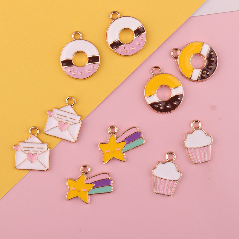 10 lovely colourful donut charms 25mm in size
