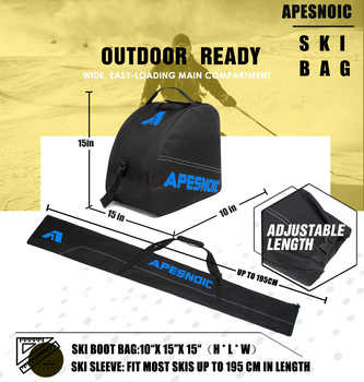 APESNOIC Padded Two-Piece Ski and Boot Bag Combo Water-Resistant Ski Boot Travel Bag Fit Skis Up to 200 cm & Boots Size 13