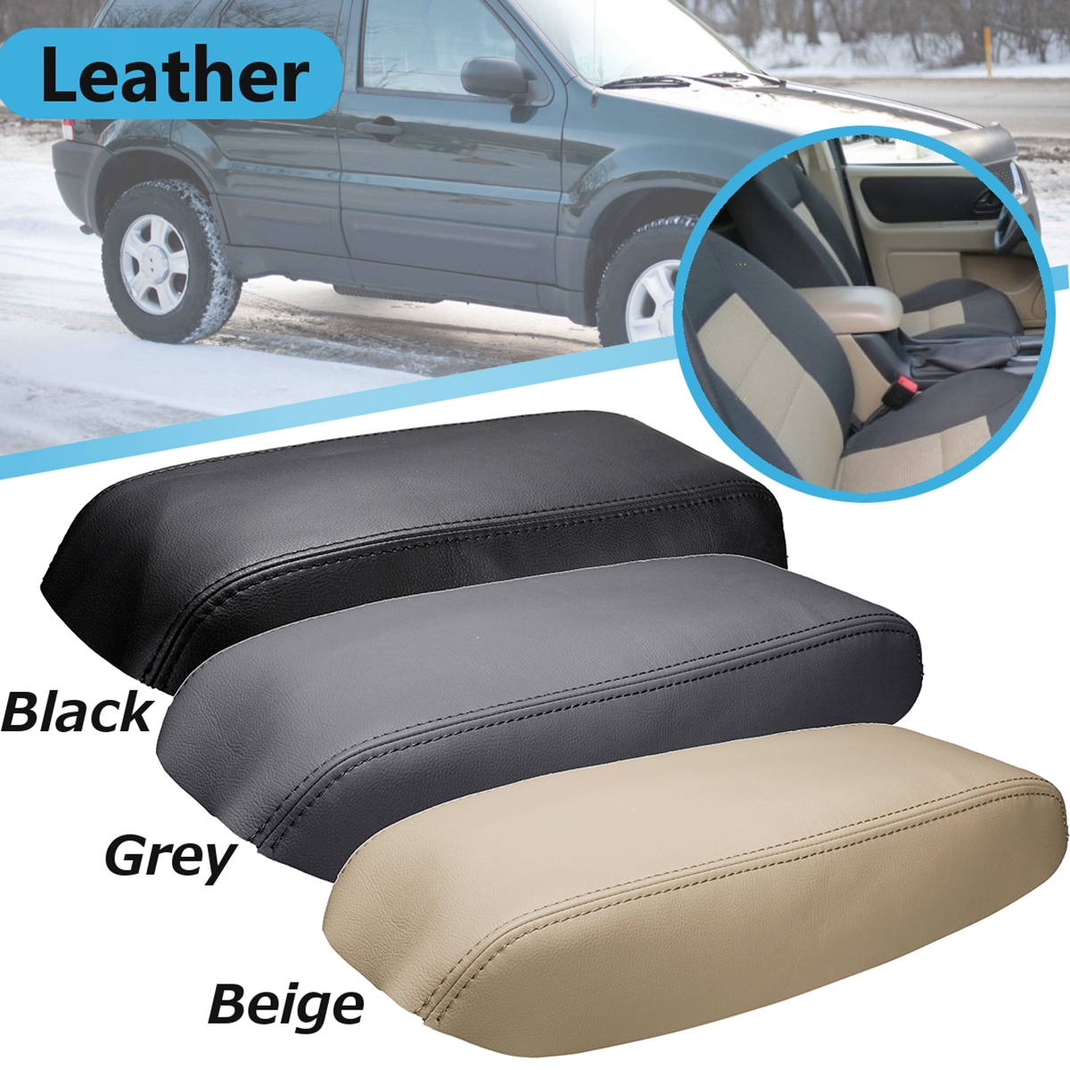 Synthetic Leather Center Console Armrest Cover BEIGE Fits 05-07 Ford Escape