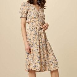 2020 Новое Женское винтажное платье с v-образным вырезом-миди с цветочным принтом и коротким рукавом, женское однобортное длинное платье с раз...
