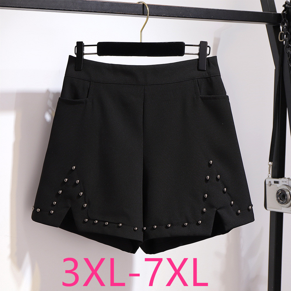 2020 Spring Summer Plus Size Shorts For Women Large Casual Loose Elastic Waist Wide Leg Rivet Thin Shorts Black 4XL 5XL 6XL 7XL