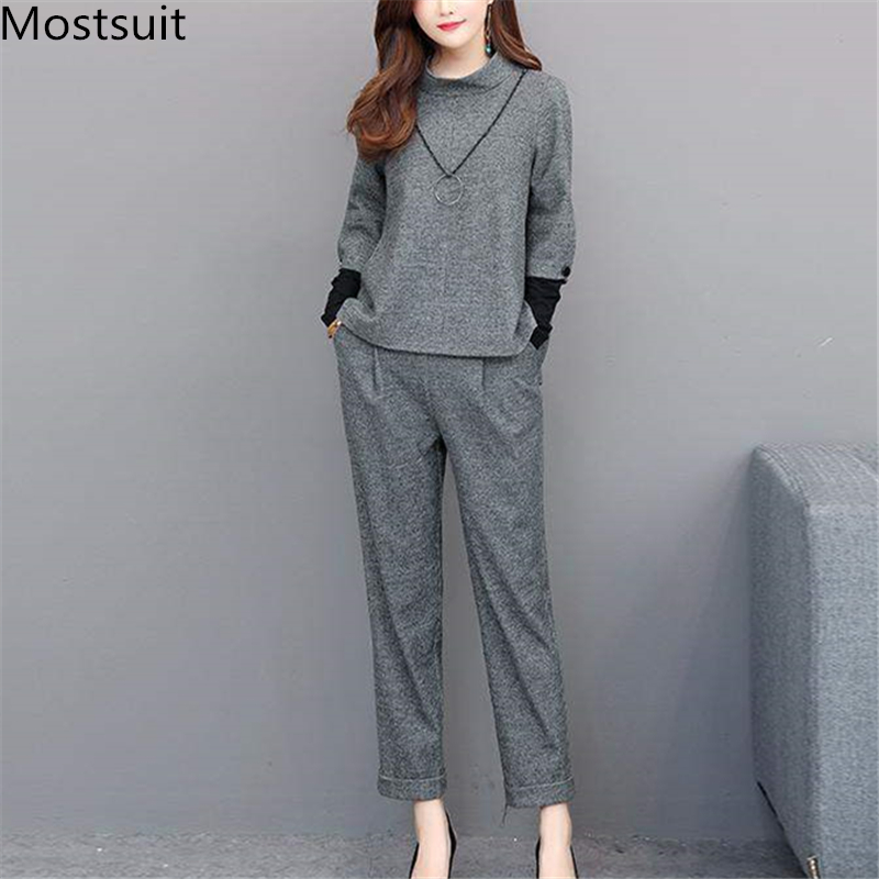 L-4xl Grey Two Piece Sets Outfits Women Plus Size Long Sleeve Tops And Pants Suits Office Elegant Fashion 2 Piece Sets 2019
