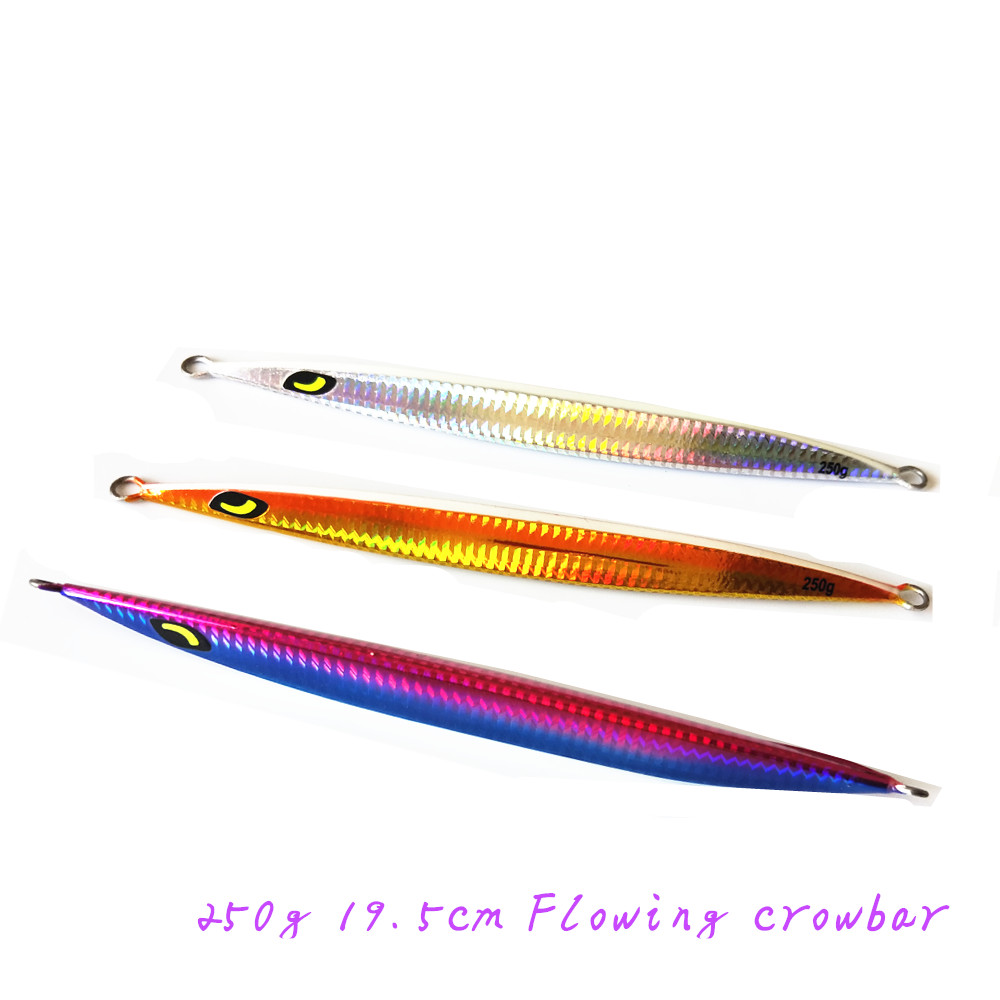 Flowingcrowbar 150g 250g 500g  own factory  slow jig  fishing lure  Quick spin down  luminos tail small jig lure