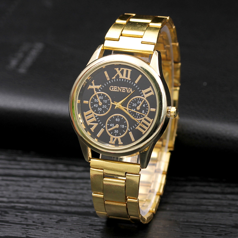 GENEVA Luxury Fashion Women Gold Watch Stainless Steel Band Wrist Watches Bracelet Ladies Clock Woman Watches Relogio Feminino
