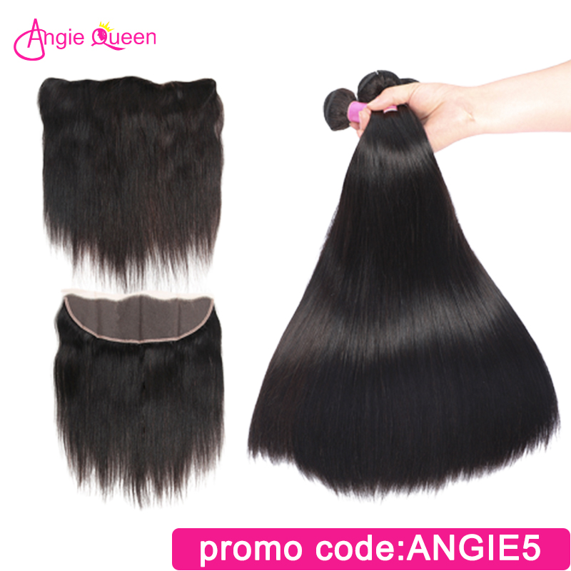 ANGIE QUEEN Peruvian Hair Straight Frontal With Bundles 100% Human Hair 3/4 Bundles With Virgin Remy Hair 13*4 Hair Extension
