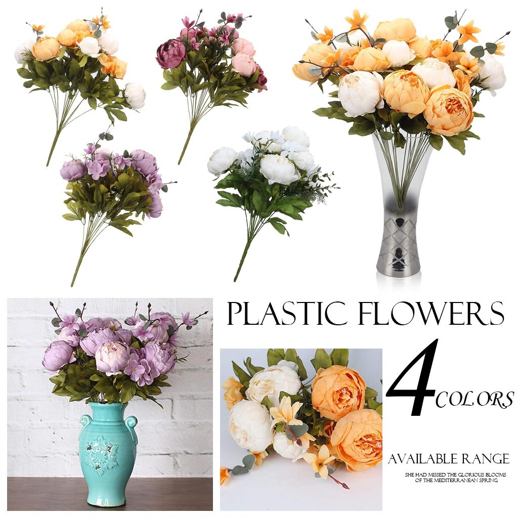 1Bouquet Vintage Artificial 13 Heads Peony Silk Flowers Bouquet Wedding Bouquet Bridal holding <font><b>fllower</b></font> Festival party home Decor image
