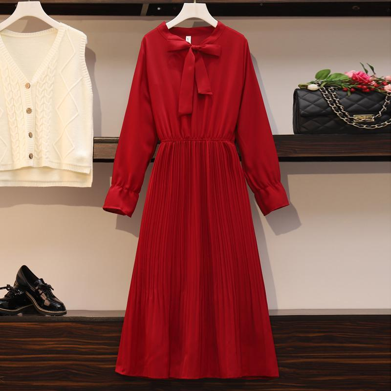 2020 New Girl Style One Piece Suit Dress, Women's Autumn and Winter Show Thin Long Sleeve Pleated Medium Length Shirt Dress 14