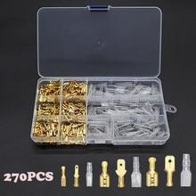 270/135/120 pces 2.8/4.8/6.3mm terminais de friso isolado selo conectores de fio elétrico friso terminal conector sortimento kit