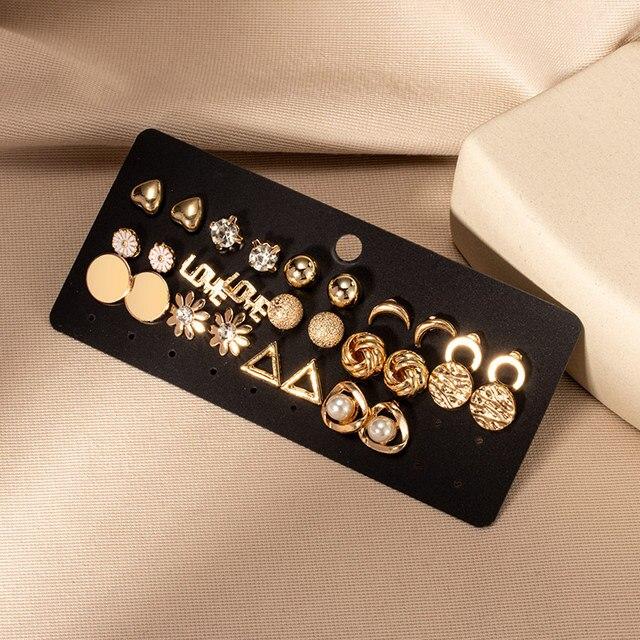 Brincos femininos conjunto retro coreano geométrico brincos para mulheres coreano ouro pequeno metal pérola brinco 2021 tendência jóias 5
