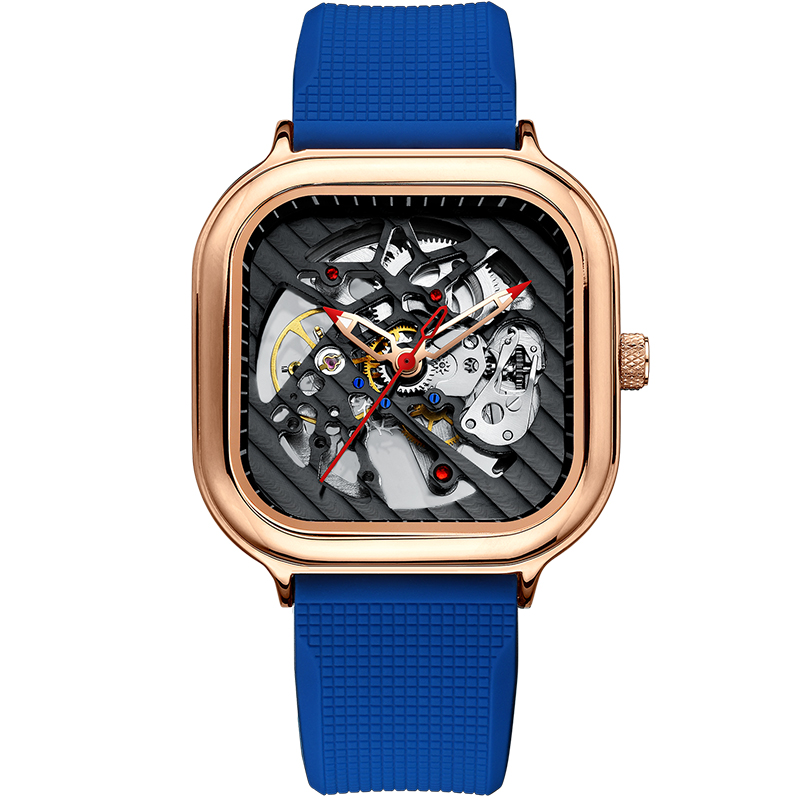 2020 new men's automatic watch top brand luxury silicone strap hollow Swiss square top ten watches 7