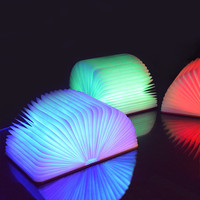 Colorful USB Rechargeable LED PU Remote Wooden book lamp with Bluetooth Speaker Dimmable Foldable Night Light Desk Decor Gifts