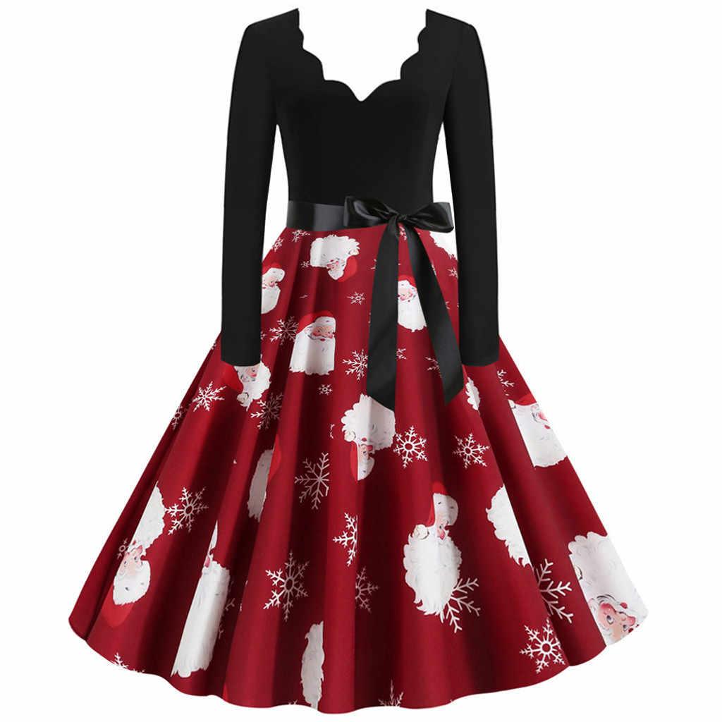 Fashion Natal Gaun Wanita Lengan Panjang Natal Catatan Musik Cetak Vintage Flare Gaun Jubah Tarik Femme Hiver Платья Женские