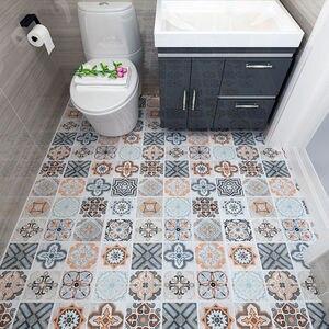 Self-adhesive floor wallpaper bathroom waterproof stickers 3d wallpaper floor tiles bedroom kitchen floor non-slip wall stickers