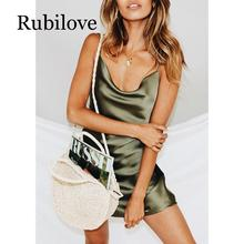 Rubilove Backless spaghetti strap satin dress Women sleeveless open back Sexy club party mini dresses 2019 Summer vestidos