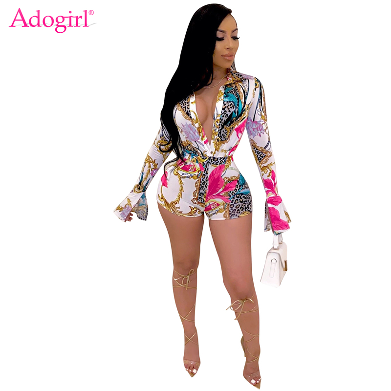 Adogirl Fashion Leopard Print Shirt Playsuit Sexy Deep V Neck Suit Collar Flare Long Sleeve Shorts Jumpsuit Women Casual Romper