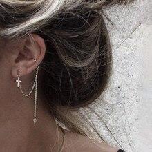DAIWUJAN 1pcs Ear Cuff Punk Earrings Fashion Cross Rivet Long Tassel Pendientes Ear Clip Earrings For Women Jewelry Gift
