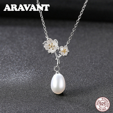 Real Natural Freshwater Pearl Pendant Necklace For Women 925 Sterling Silver Daisy Pearl Necklace Jewelry baroque natural fresh water pearl pendant necklace 925 sterling silver with cubic zircon fashion women jewelry party necklace