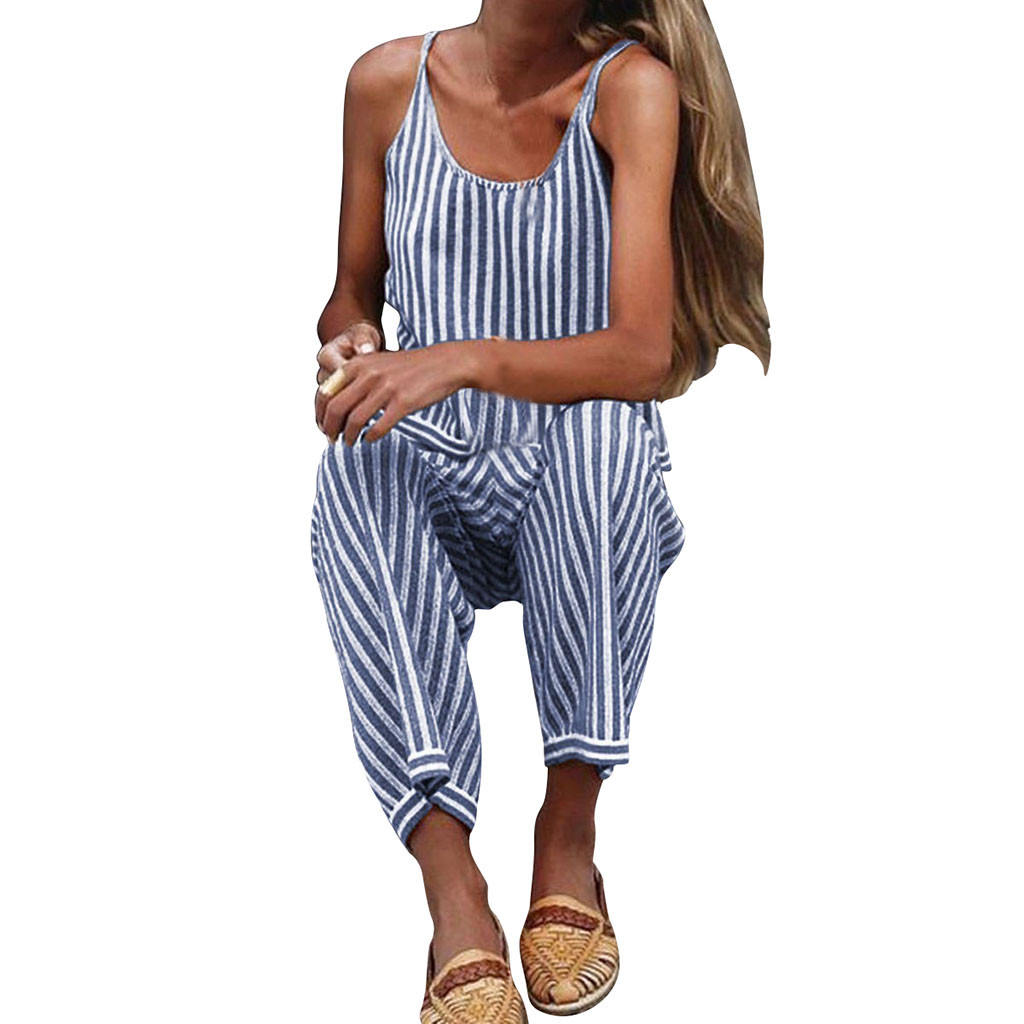 JAYCOSIN 2020 Fashion Woman Casual Polyester Striped Sleeveless Jumpsuit Women Ladies Club Wear Party Playsuits And Jumpsuits