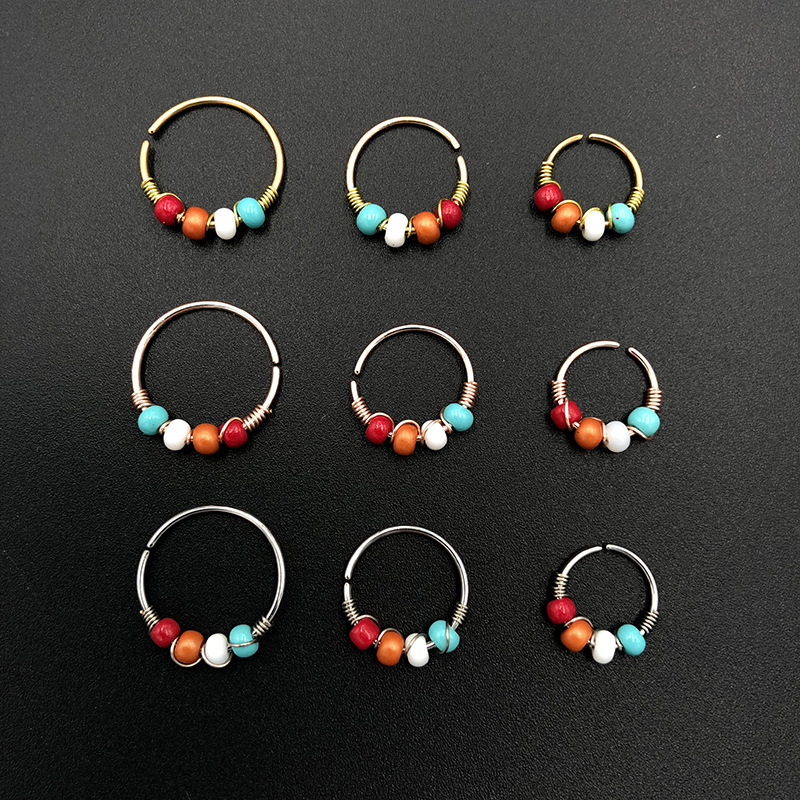 1PCS Boho Bead Nose Ring Surgical Steel Septum Piercing Hoop Indian Nose Ear Piercing Gold Women Body Jewelry Accessories|Body Jewelry|   - AliExpress