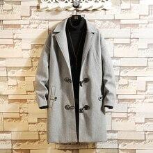 Winter Horn Buckle Woolen Coat Men Fashion Overcoat Solid Color Casual British Wind Long Coat Men Loose Woolen Jacket Man M-3XL longline horn button woolen coat