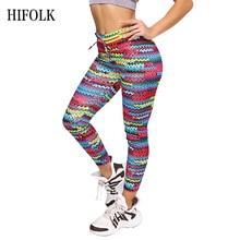 HIFOLK Fashion Mixed Colour Printing Stretching Women's Leggings High Waist Original Knit Fitness Legging Polyester Trousers