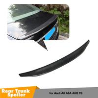 For Audi A6 C6 Carbon Fiber Spoiler Trunk Lip Wing 2005 2011 Rear Trunk Gloss Black Spoiler