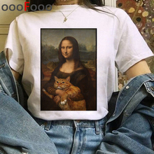 Harajuku aesthetic tshirt women Mona Lisa spoof personality oil painting Tops Female T-shirt Vintage 90s Cartoon korean clothes