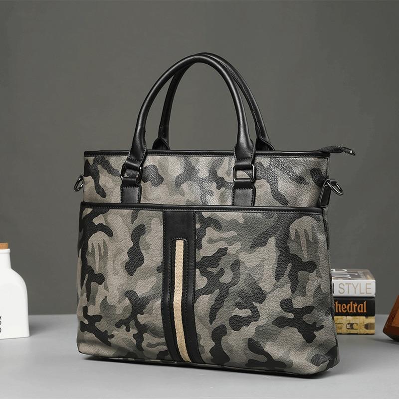 Trend Bolso Hombre New Camouflage Handbag Men Casual Messenger Bag Fashion Business Briefcase Pu Leather Shoulder Crossbody Bags