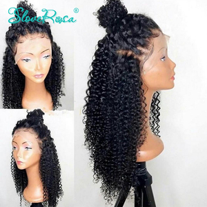 Image 1 - 13X4 Brazilian Kinky Curly 130% Density Lace Front Wigs For Black Women Remy Human Hair Pre Plucked Bleach Knots Slove Rosa