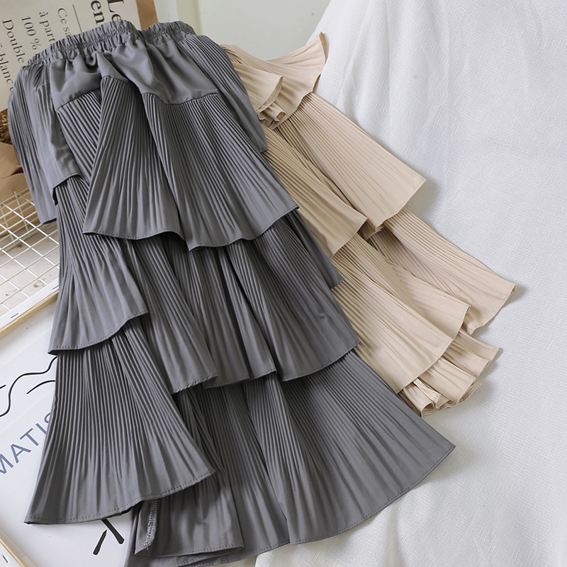 Autumn Irregular Cakee Layered Cotton Blend Long Skirts Elastic Waist Pleasted Ruffles Tiered High Low A-line Long Skirts